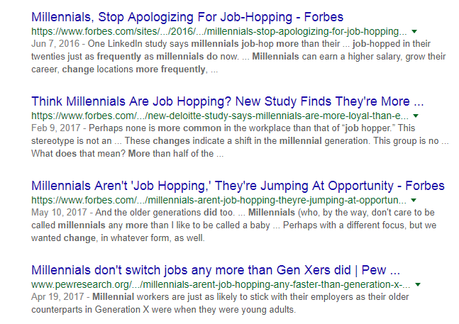 Google Search Results - MIllenials
