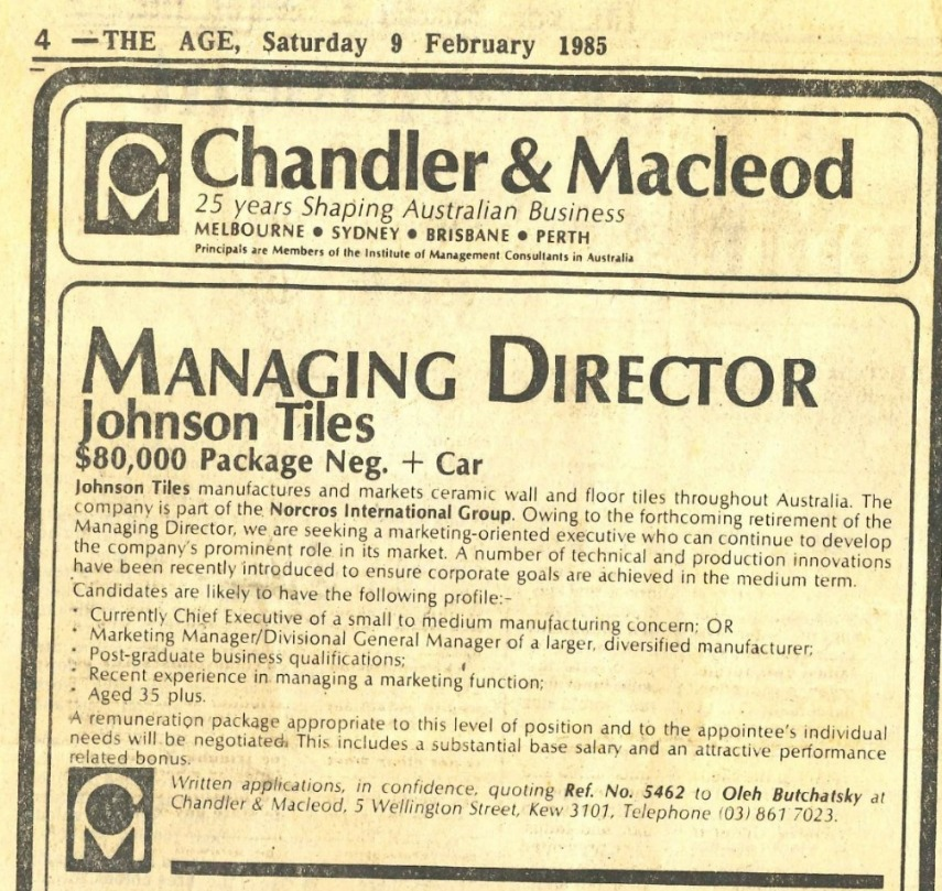 Managing Director Role 1985